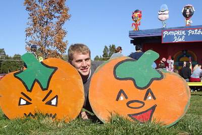 Rob with his pumpkin buddies - Centreville, VA ... October 15, 2006 ... Photo by Emily Conger