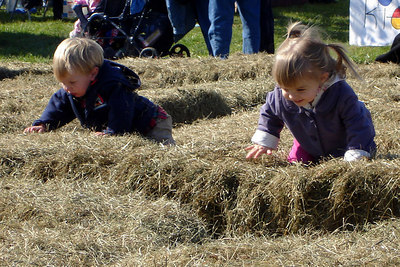 The little girl got a friend to play in the hay with her - Millwood, VA ... October 21, 2006 ... Photo by Rob Page III
