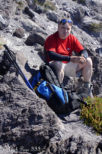 A tired soul at the end of the hike - Mount St. Helens National Volcanic Monument, WA ... July 28, 2006 ... Photo by Rob Page III