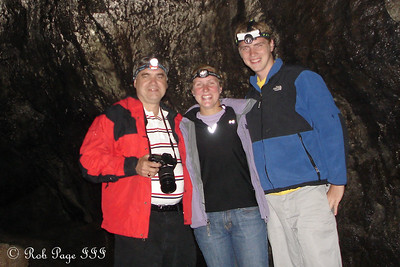 Dad, Heather, and Rob in the Ape Caves at the bottom of Mount St. Helens - Mount St. Helens National Volcanic Monument, WA ... July 27, 2006 ... Photo by Rob Page III