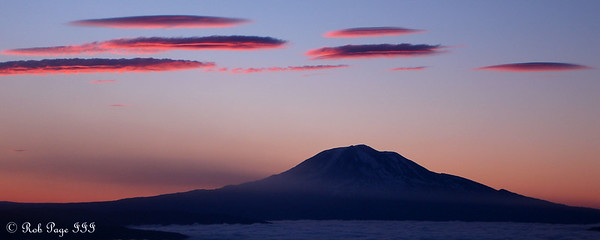 Mt. Adams at Sunrise - Mount St. Helens National Volcanic Monument, WA ... July 28, 2006 ... Photo by Rob Page III