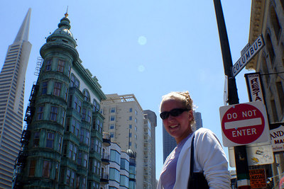 """Heather posing for Lonely Planet's """"San Francisco 2006"""" cover - San Francisco, CA ... July 26, 2006 ... Photo by Rob Page III"""