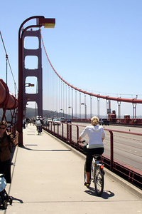 Heather riding across the Golden Gate Bridge - San Francisco, CA ... July 31, 2006 ... Photo by Rob Page III