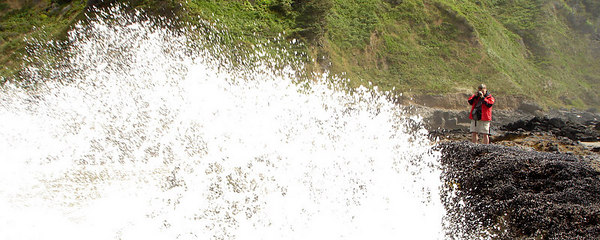 A wave erupts right in front of Dad - Yachats, OR ... July 29, 2006 ... Photo by Rob Page III