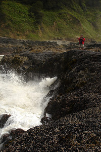 Dad, enjoying the waves - Yachats, OR ... July 29, 2006 ... Photo by Rob Page III