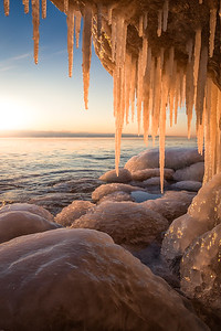 Icy Sunrise on Lake Michigan