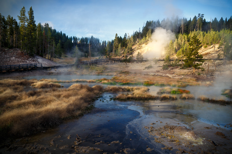 Yellowstone, Landscape - Thermal features and fog at sunrise