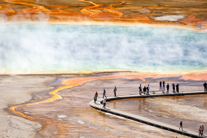 Yellowstone, Landscape - Grand Prismatic spring and visitors on the boardwalk from above