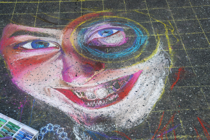 Mim Lennig has a face coming out the pavement