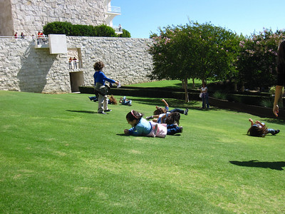 Rolling kids, Getty Center in Los Angeles, California