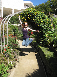 Jumping shot in the gardens of the Getty Center in Los Angeles, California