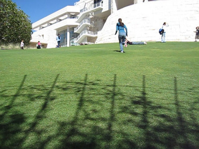 Rolling down the hill at the Getty Center in Los Angeles, California