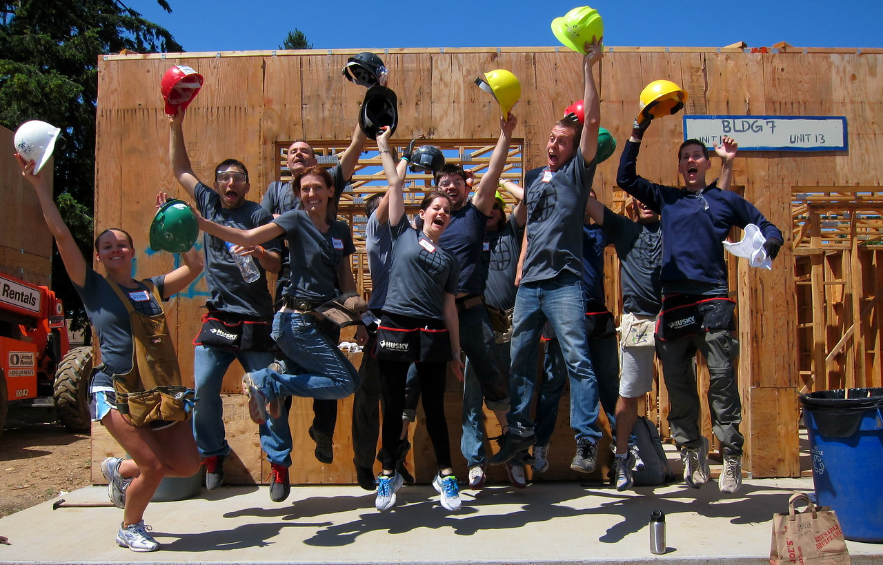 A group of WDS (World Domination Summit) conference attendees did a build day at the Portland Habitat for Humanity.