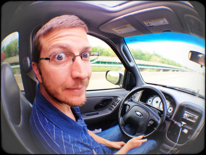 Loving his driving duties