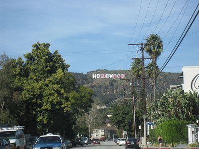 "The Hollywood Sign altered to ""Hove the Weak"""