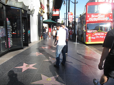 Tourists at the Hollywood Walk of Fame