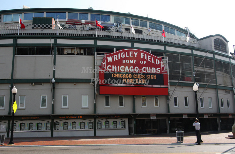 "Wrigley Field ""Home of the Chicago Cubs"" in Chicago, Illinois"