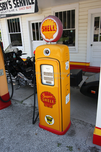 Old gas pump at Soulsby's Shell Station in Mt. Olive, Illinois.