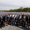 Unitil held a ribbon cutting for their new solar field on Sawyer Passway in Fitchburg on Wednesday morning. This field has 3,708 solar panels with 144 muilt-crystalline cells. The land was the site of a fossil fuel power plant for 100 years before Unitil put up the solar field. Everyone that showed up to the event posed for a picture. SENTINEL & ENTERPRISE/JOHN LOVE