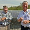 Unitil held a ribbon cutting for their new solar field on Sawyer Passway in Fitchburg on Wednesday morning. This field has 3,708 solar panels with 144 muilt-crystalline cells. The land was the site of a fossil fuel power plant for 100 years before Unitil put up the solar field. Fitchburg Fire Chief Kevin Roy and Keith Caribo the manger of electric operation for Unitil have a good laugh at the event. SENTINEL & ENTERPRISE/JOHN LOVE