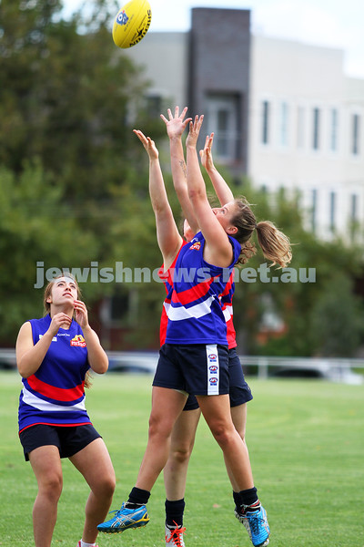 16-3-14. Unity Cup. J J Holland Reserve, Kensington. Mt Scopus Girls v Western Girls. Photo: Peter Haskin