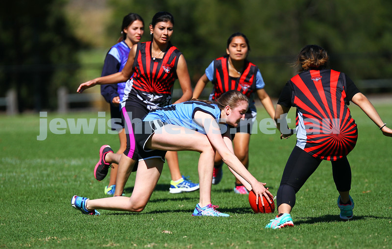 29-3-15. AFL Unity Cup. J J Holland Reserve, Kensington. Mount Scopus team. Sarah Rushford. Photo: Peter Haskin