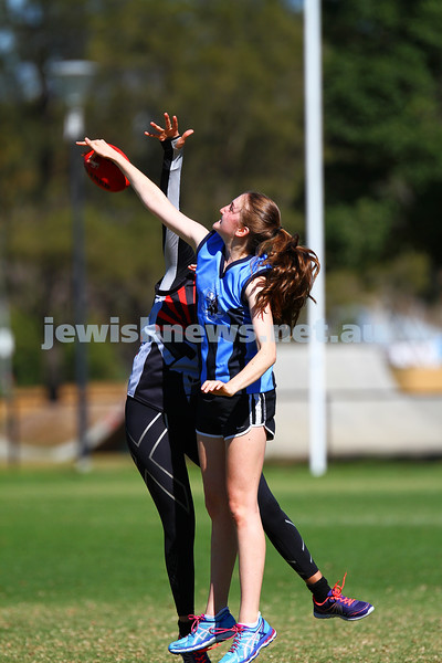 29-3-15. AFL Unity Cup. J J Holland Reserve, Kensington. Mount Scopus team. Sarah Rushford. Photo: Peter Haskin