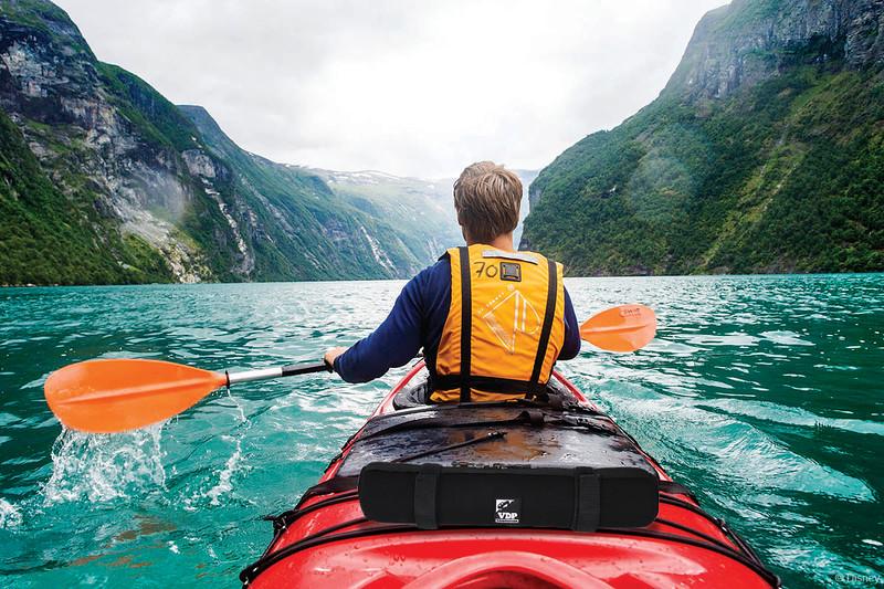 Kayaking in Geirangerfjord