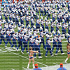 :  University of Florida Gator's Marching Band performs in the pre-game against Florida Atlantic University in the Ben Hill Griffin Stadium aka The Swamp.