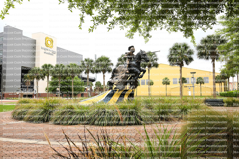 """Standing proudly in front of the Bright House Stadium, """"The Charging Knight statue, by Don Reynolds symbolizes excellence in academics."""