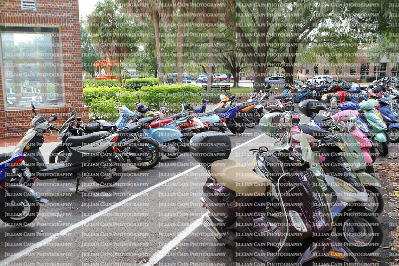 Scooters are now the modern mode of transportation at the University of Florida. Many students park their scooters along the road on campus.