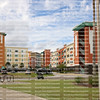 Colorful Student Tower Apartments at the University of Central's Florida, adjacent to the Knights Plaza and located next to the CFE Arena.