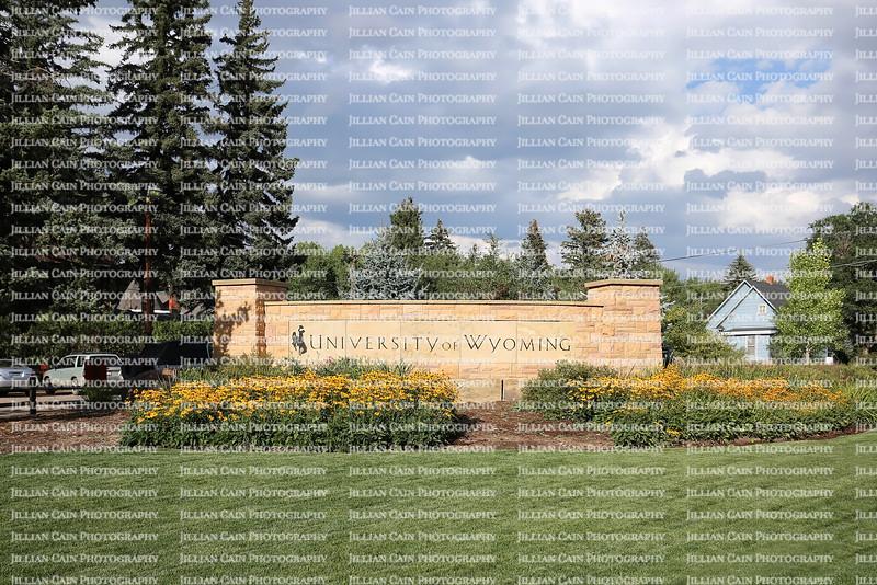 University of Wyoming campus entrance in Laramie, Wyoming.