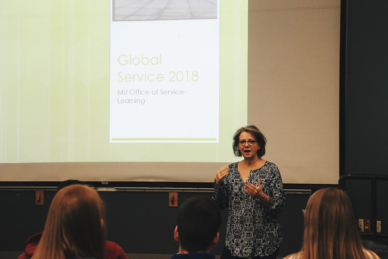 Dr. Anne Marie Foley, a professor at the University of Missouri, speaking on Global Service and the Serving Learning program she founded at Mizzou