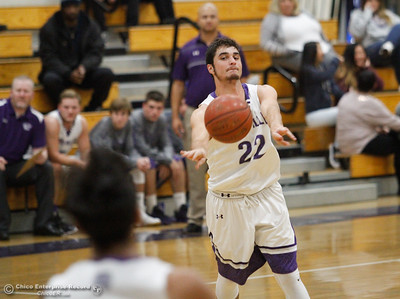 Oroville High School's Hunter Monnot passes the ball to his teammate, proving again to be a selfless player during a basketball game against University Prep November 29, 2016 in Oroville, California. . (Emily Bertolino -- Mercury Register)