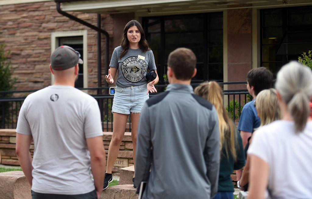 . Kenzie Vertner, a CU senior, leads one of the campus tours at the University of Colorado. For more photos, go to dailycamera.com. Cliff Grassmick  Staff Photographer  August 3, 2018