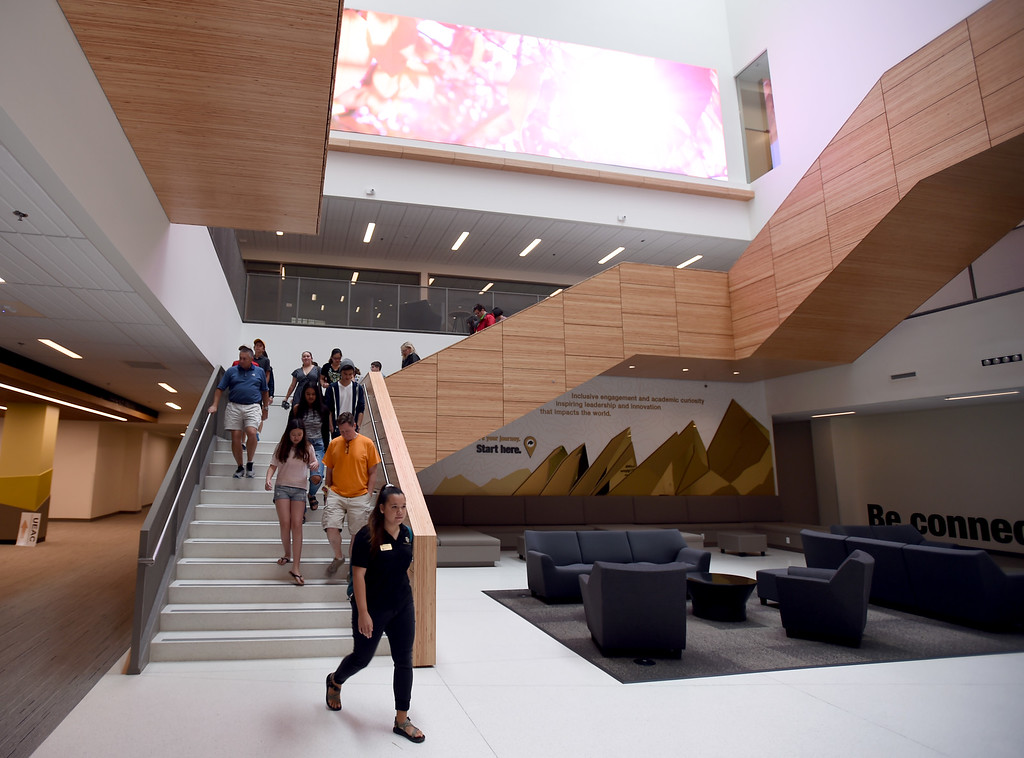 . A campus tour passes through the lobby of the new Center for Academic Success & Engagement (CASE) building at the University of Colorado. For more photos, go to dailycamera.com. Cliff Grassmick  Staff Photographer  August 3, 2018