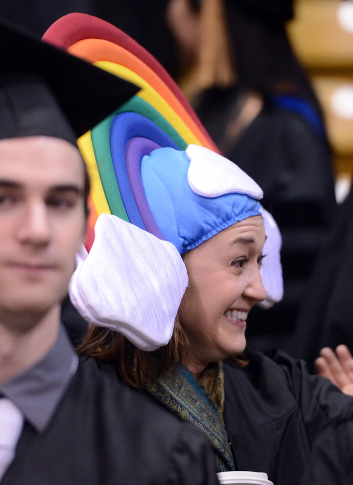 "Caitlin Duffy wanted everyone to have a ""rainbow day"" on graduation.<br /> The University of Colorado Boulder held its winter commencement ceremony on Friday, Dec. 21, in the Coors Events Center<br /> For more photos and a video of graduation, go to  <a href=""http://www.dailycamera.com"">http://www.dailycamera.com</a>.<br /> Cliff Grassmick  / December 21, 2012"