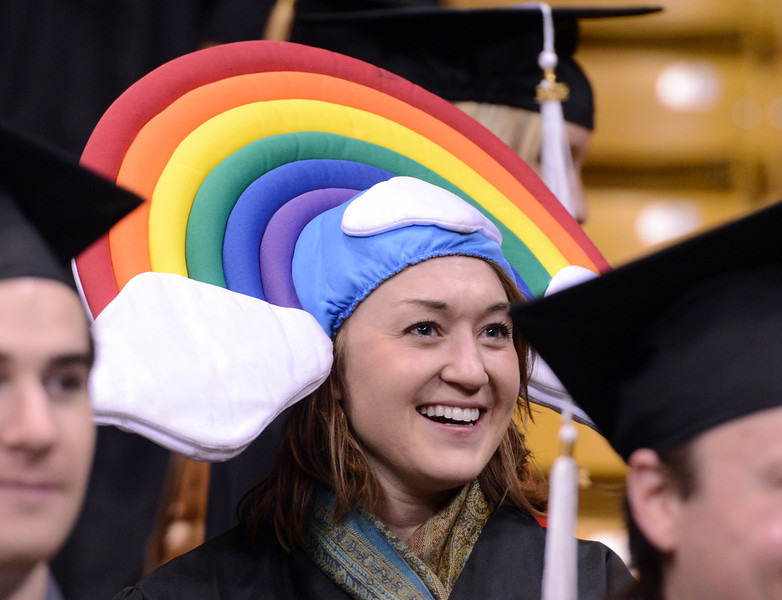 """Caitlin Duffy wanted everyone to have a """"rainbow day"""" on graduation.<br /> The University of Colorado Boulder held its winter commencement ceremony on Friday, Dec. 21, in the Coors Events Center<br /> For more photos and a video of graduation, go to  <a href=""""http://www.dailycamera.com"""">http://www.dailycamera.com</a>.<br /> Cliff Grassmick  / December 21, 2012"""