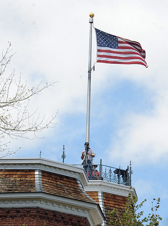 """Police and cameras were also on Old Main.<br /> For more photos and videos of 4/20,  go to  <a href=""""http://www.dailycamera.com"""">http://www.dailycamera.com</a><br />  Cliff Grassmick / April 20, 2012"""