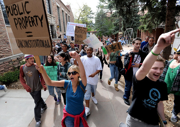 "Hundreds of 4/20 protesters made their way on the CU campus.<br /> For more photos and videos of 4/20,  go to  <a href=""http://www.dailycamera.com"">http://www.dailycamera.com</a><br />  Cliff Grassmick / April 20, 2012"