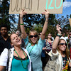 Marchers in the Occupy 4/20 rally work their way up to the CU Boulder Campus  Friday afternoon April 20, 2012. <br /> <br /> Photo by Lewis Geyer   /  The Camera