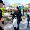 "Jeffco Sheriff's deputy, Ojard askes Beri Sart, lef, and Rachel Steidley for their CU ID's before being allowed on campus.<br /> For more photos and videos of 4/20,  go to  <a href=""http://www.dailycamera.com"">http://www.dailycamera.com</a><br />  Cliff Grassmick / April 20, 2012"