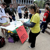 "University of Colorado law students  set up a protest with information at the Dalton Trumbo Fountain area Friday afternoon.<br /> <br /> For more photos and videos of 4/20,  go to  <a href=""http://www.dailycamera.com"">http://www.dailycamera.com</a><br />  Cliff Grassmick / April 20, 2012"