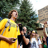 "Daniel Swartz, left, yells during a protest at the 4/20 rally on the University of Colorado campus in Boulder on Friday, April 20. For more photos and video go to  <a href=""http://www.dailycamera.com"">http://www.dailycamera.com</a><br /> Jeremy Papasso/ Camera"