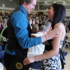 """Garrett Hedman, left, congratulates Bidita Dutta  after she received her  honors medal.<br /> The University of Colorado College of Arts and Sciences held the Honors Program Convocation on Thursday at the Glenn Miller Ballroom.<br /> For more photos and a video of the convocation, go to  <a href=""""http://www.dailycamera.com"""">http://www.dailycamera.com</a><br /> Cliff Grassmick / May 6, 2010"""