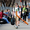 "Zachary Clawson, of Los Gatos, CA, is going back home with his hockey sticks. He is catching a bus at Euclid and Broadway to the DIA.<br /> University of Colorado students are leaving for Spring break. For more photos of students going back to Cali, go to  <a href=""http://www.dailycamera.com"">http://www.dailycamera.com</a>.<br /> Cliff Grassmick/ March 17, 2011"