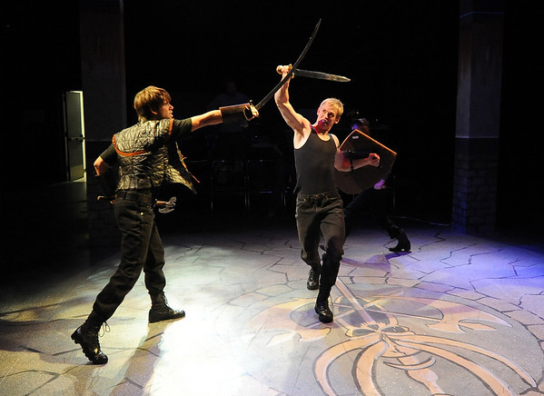 "Actors, Tony Dostert, left, and Dan Foote fight in a dress rehearsal scene.<br /> Members of the CU Boulder Theatre and Dance Department rehearse the play, ""Tamburlaine: Reign in Blood"" on Sunday night. The theatre department is 50-years old.<br /> For more photos of rehearsal, go to  <a href=""http://www.dailycamera.com"">http://www.dailycamera.com</a>.<br /> Cliff Grassmick / September 26, 2010"