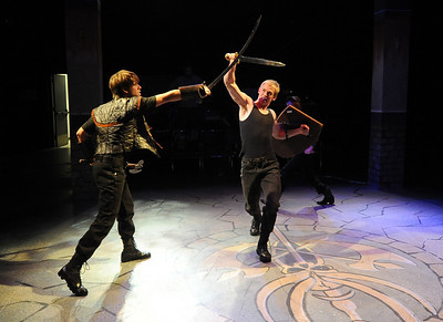 "Actors, Tony Dostert, left, and Dan Foote fight in a dress rehearsal scene. Members of the CU Boulder Theatre and Dance Department rehearse the play, ""Tamburlaine: Reign in Blood"" on Sunday night. The theatre department is 50-years old. For more photos of rehearsal, go to www.dailycamera.com. Cliff Grassmick / September 26, 2010"
