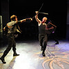 """Actors, Tony Dostert, left, and Dan Foote fight in a dress rehearsal scene.<br /> Members of the CU Boulder Theatre and Dance Department rehearse the play, """"Tamburlaine: Reign in Blood"""" on Sunday night. The theatre department is 50-years old.<br /> For more photos of rehearsal, go to  <a href=""""http://www.dailycamera.com"""">http://www.dailycamera.com</a>.<br /> Cliff Grassmick / September 26, 2010"""
